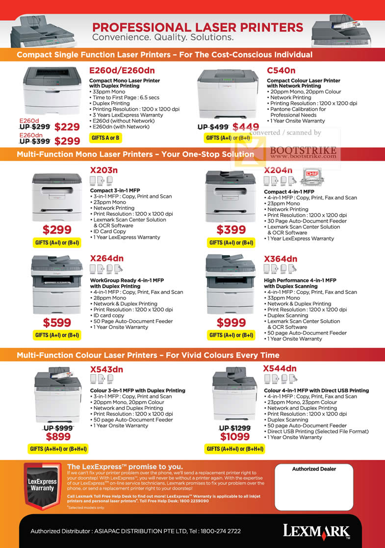 Comex 2010 price list image brochure of Lexmark Laser Printers E260d E260dn C540n Multi Function X203n X204n X264dn X364dn X543dn X544dn