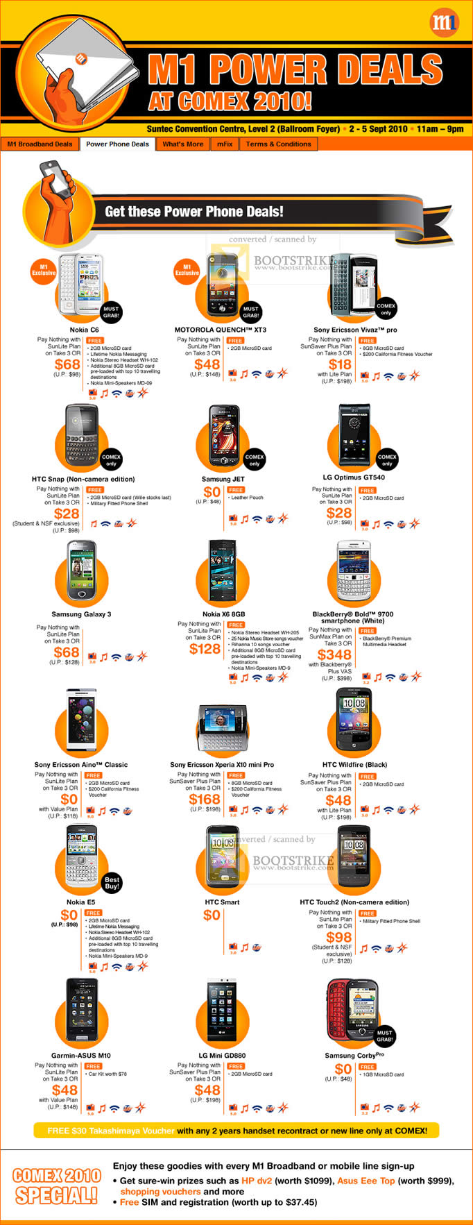Comex 2010 price list image brochure of M1 Mobile Power Phone Nokia Motorola Quench XT3 Sony Ericsson HTC Samsung LG Blackberry Bold Garmin ASUS