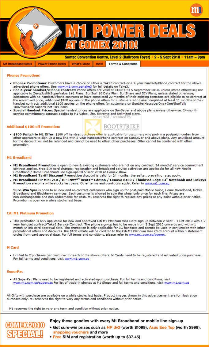 Comex 2010 price list image brochure of M1 Promotions Terms Conditions SuperPac Citi M1 Platinum Broadband Phones