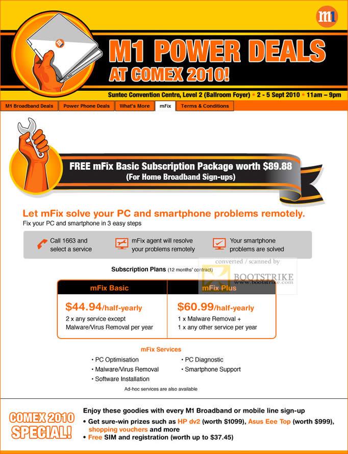 Comex 2010 price list image brochure of M1 MFix Subscription