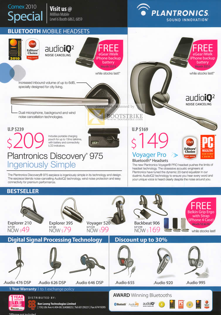 Comex 2010 price list image brochure of Million Mobile Plantronics Bluetooth Headset AudioIQ Discovery Voyager Pro Explorer 210 Backbeat 906 DSP