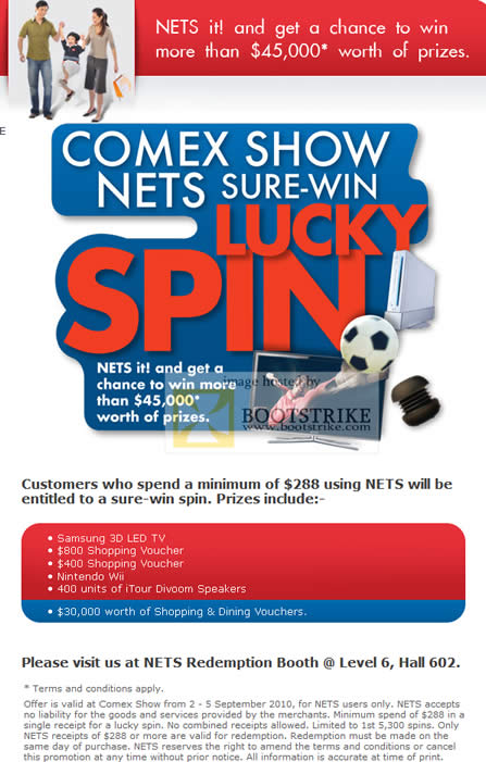 Comex 2010 price list image brochure of NETS Sure Win Lucky Spin Redemption