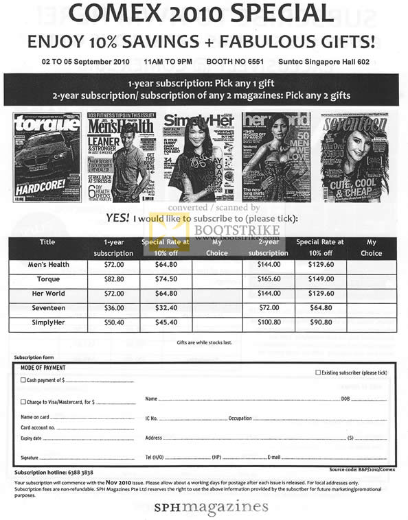 sph magazine subscriptions mens health torque her world seventeen simplyher comex 2010 price. Black Bedroom Furniture Sets. Home Design Ideas