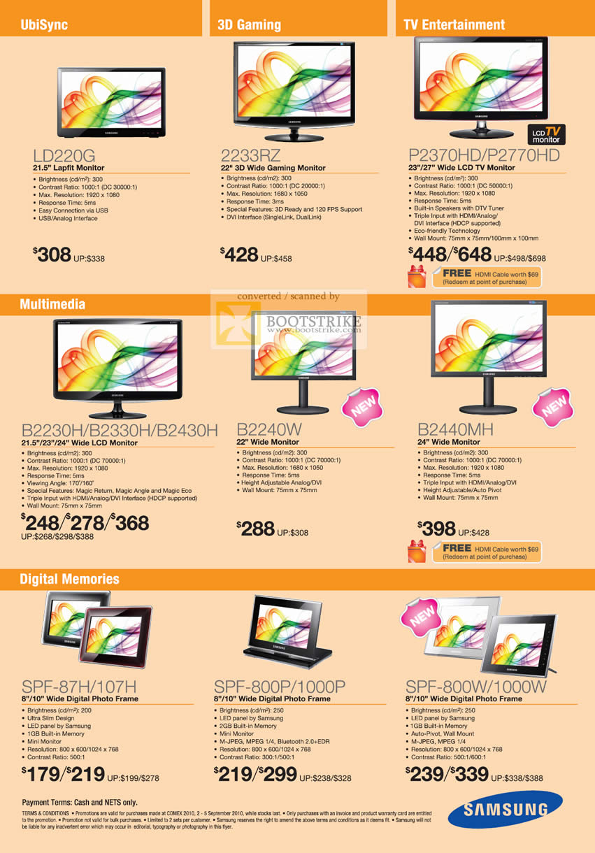 Comex 2010 price list image brochure of Samsung LCD Monitors LD220G 2233RZ P2370HD P2770HD B2230H B2330H B2430H B2240W Digital Photo Frame TV