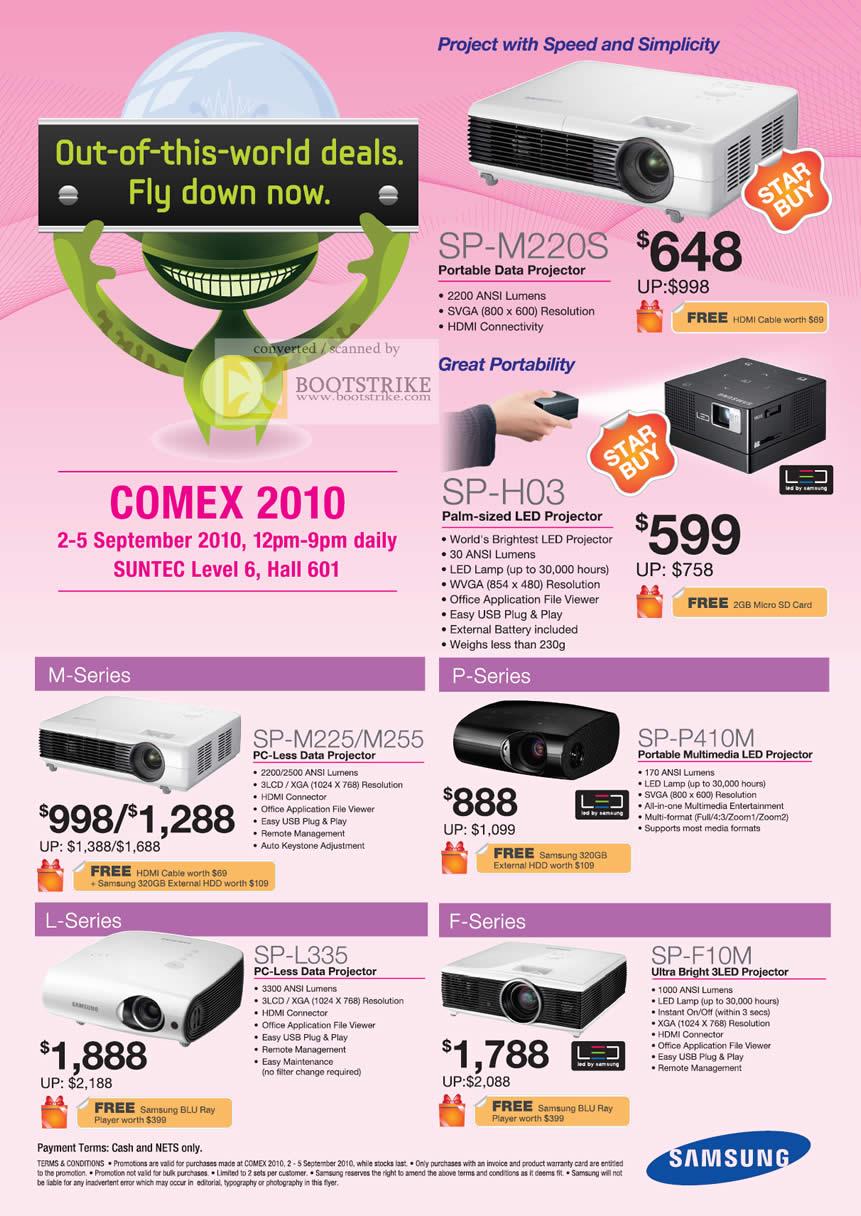 Comex 2010 price list image brochure of Samsung Projectors SP M220S H03 Data LED Portable M225 M255 P410M L335 F10M Multimedia