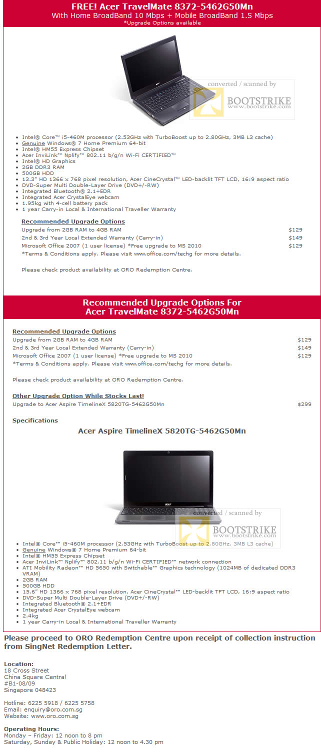 Comex 2010 price list image brochure of Singtel Acer TravelMate 8372 5462G50Mn Specifications Upgrade Options Redemption