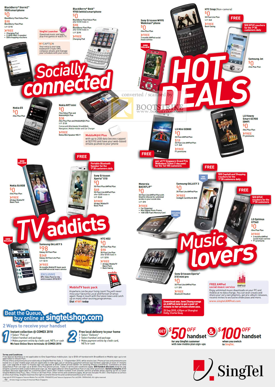 Comex 2010 price list image brochure of Singtel Mobile Phones BlackBerry Storm2 Sony Ericsson HTC Samsung LG Nokia N97 Xperia