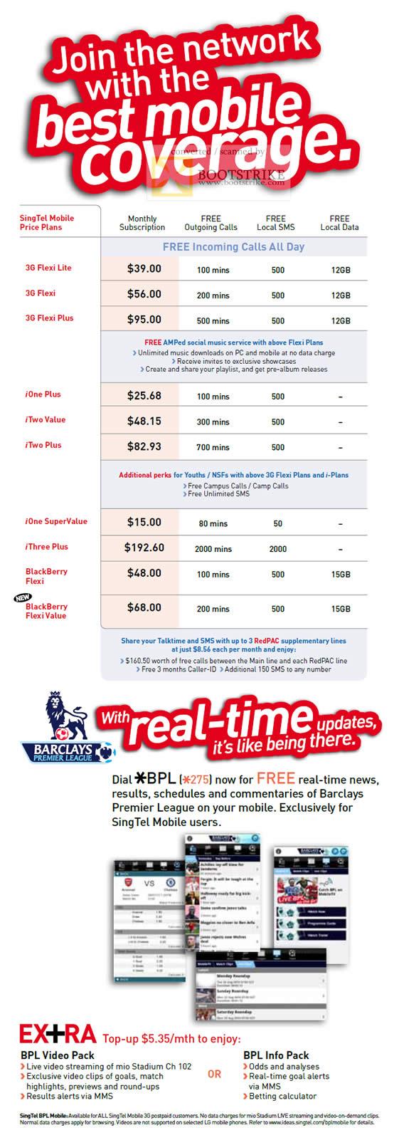 Comex 2010 price list image brochure of Singtel Mobile Price Plans 3G Flexi Lite Plus IOne Plus Value ITwo Barclays BPL Video Pack Info