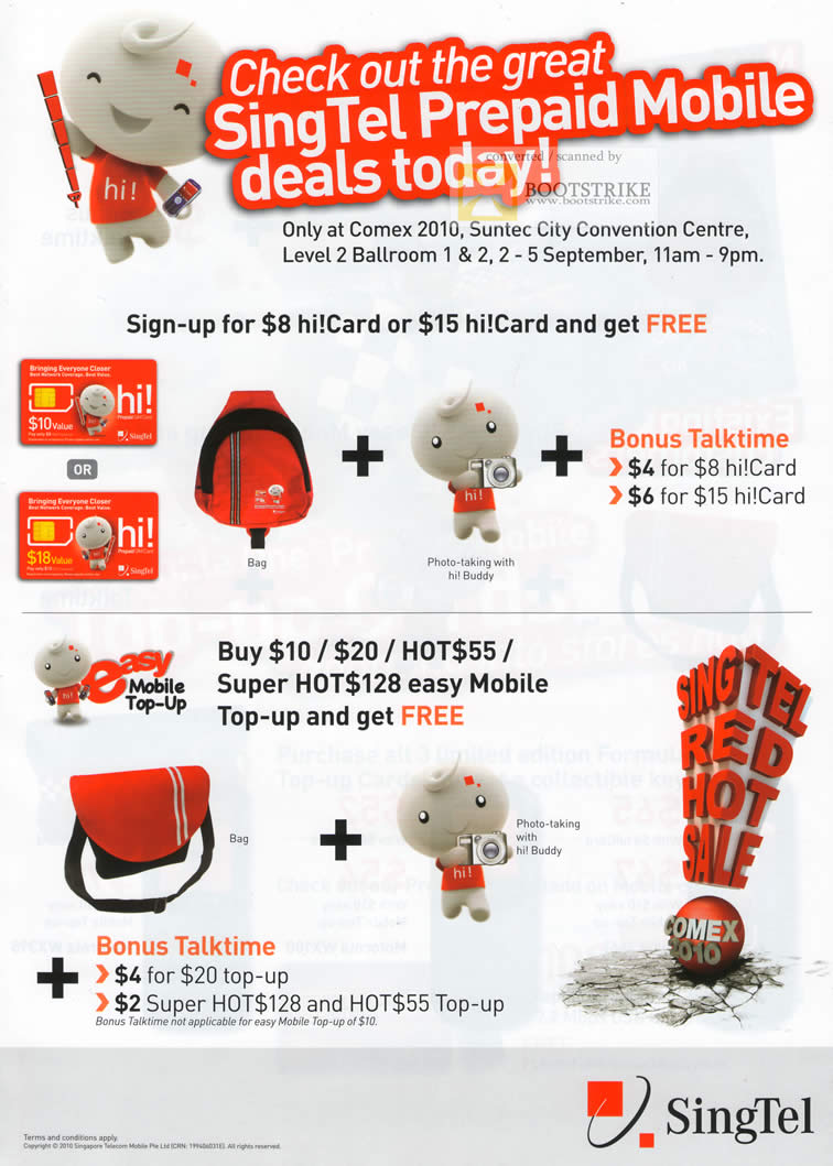 Comex 2010 price list image brochure of Singtel Prepaid Mobile Deals Super HOT 128 Hi Card