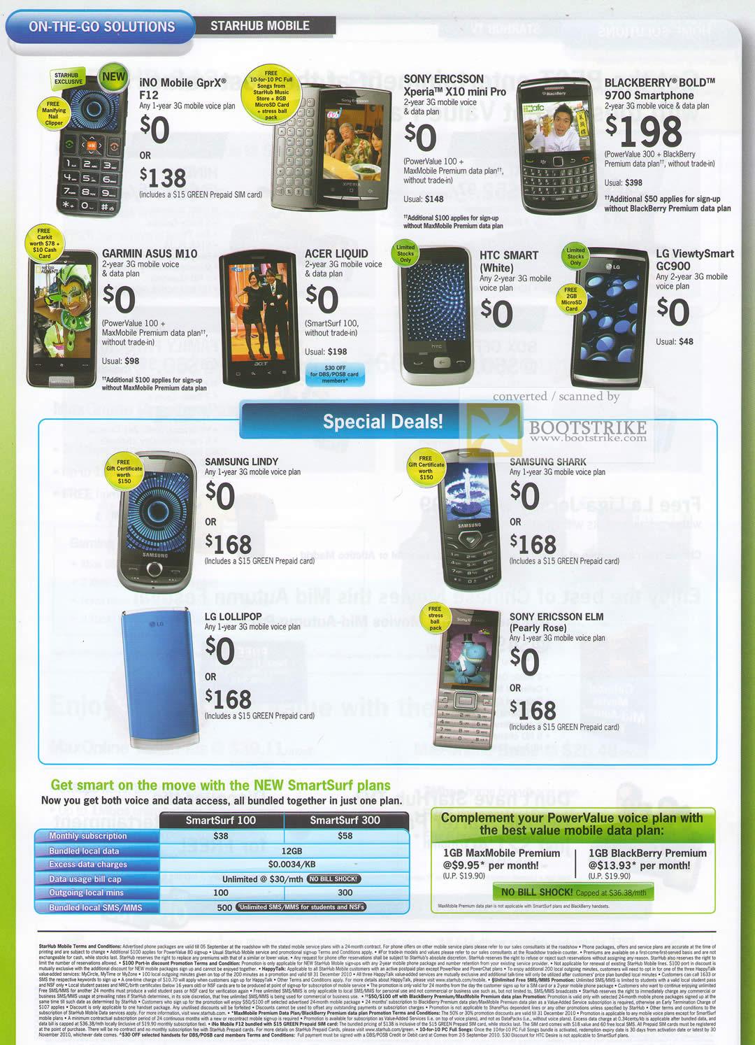 Comex 2010 price list image brochure of Starhub Mobile Phones INo Mobile GprX F12 Sony Ericsson Xperia BlackBerry Garmin ASUS Acer HTC LG SmartSurf Plans