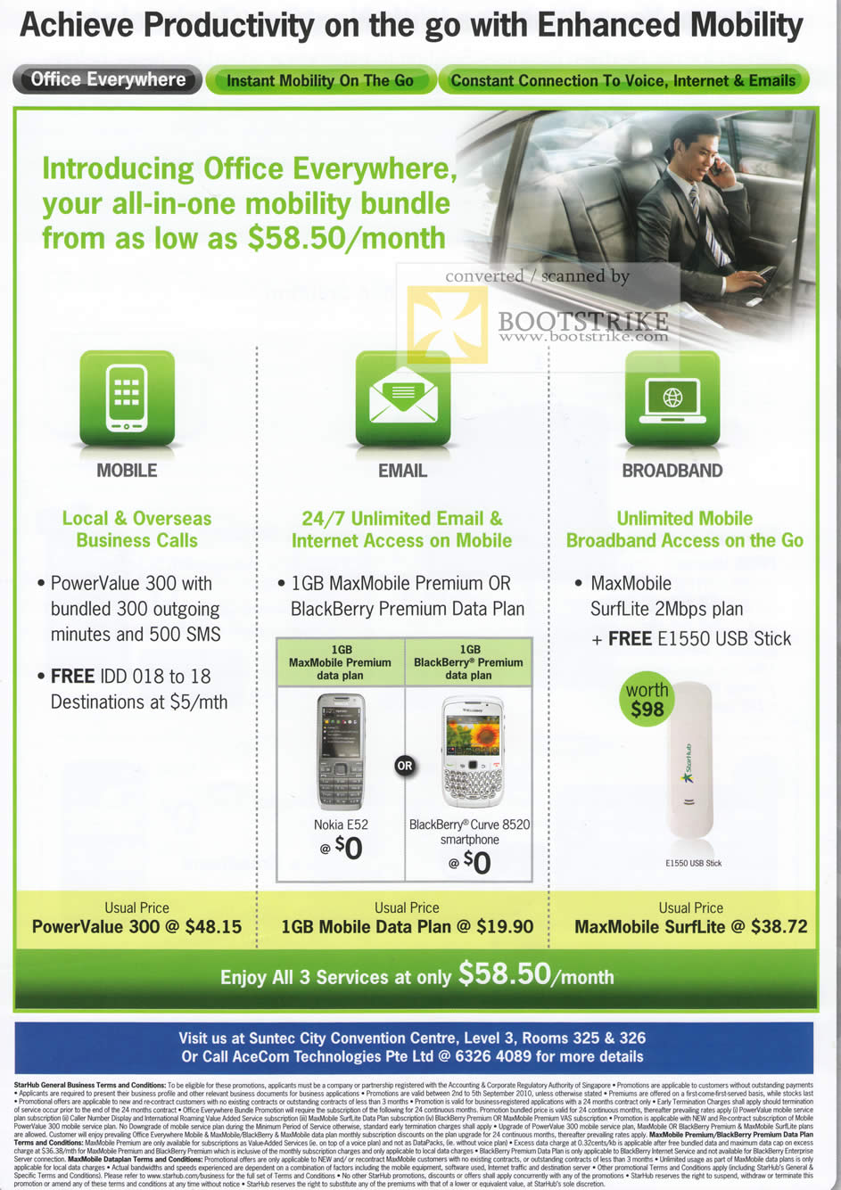 Comex 2010 price list image brochure of Starhub Office Everywhere Mobile Email Broadband Powervalue 300 MaxMobile SurfLite
