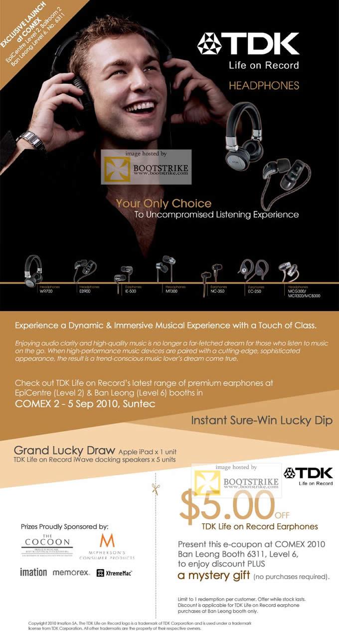 Comex 2010 price list image brochure of TDK Headphones Life Earphones Lucky Draw Voucher