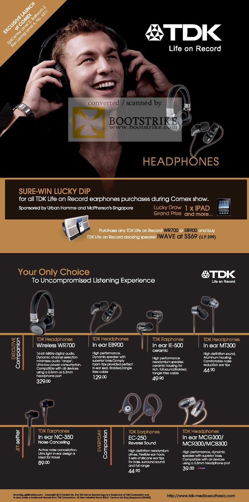 Comex 2010 price list image brochure of TDK Headphones Wireless WR700 In Ear EB900 IE 500 MT300 NC 350 EC 250