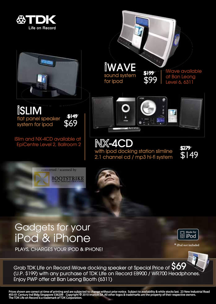 Comex 2010 price list image brochure of TDK IWAVE ISLIM NX 4CD IPod IPhone