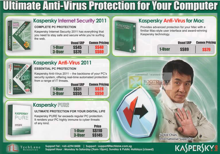 Comex 2010 price list image brochure of Techlane Kaspersky Internet Security 2011 Anti Virus Pure Mac