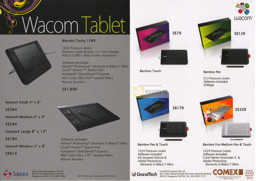 Comex 2010 Price List Image Brochure Of Wacom Tablets Cintiq 12WX Intuos4 Wireless Bamboo Touch Pen