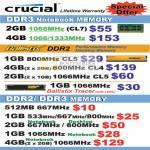Crucial Desktop Memory DDR3 Notebook Ballistix DDR2 Tracer