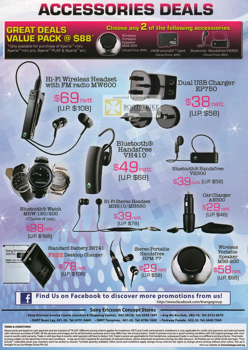 6range Sony Ericsson Accessories Mw600 Headset Ep750 Charger Bluetooth Handsfree Vh410 Vh300 An300 Mh610 Mh650 Mbw 150 200 Hpm 77 Mbs 200 Wireless Speaker Comex 2011 Price List Brochure Flyer Image