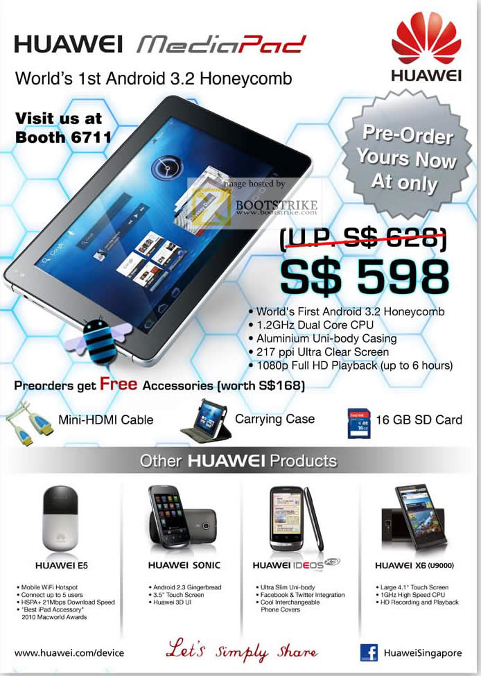 AAAs Com Huawei MediaPad Android Tablet Honeycomb COMEX 2011