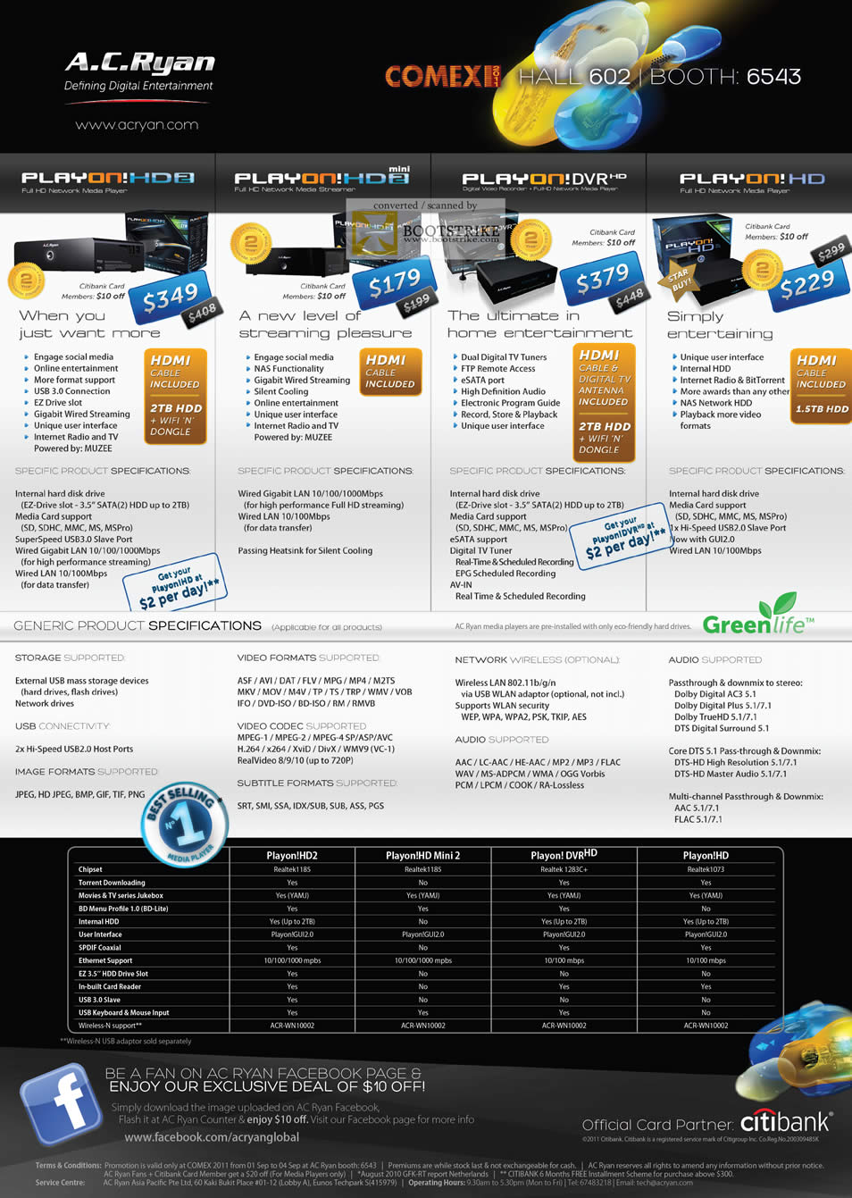 COMEX 2011 price list image brochure of AC Ryan Media Player Playon HD2 Mini DVR HD