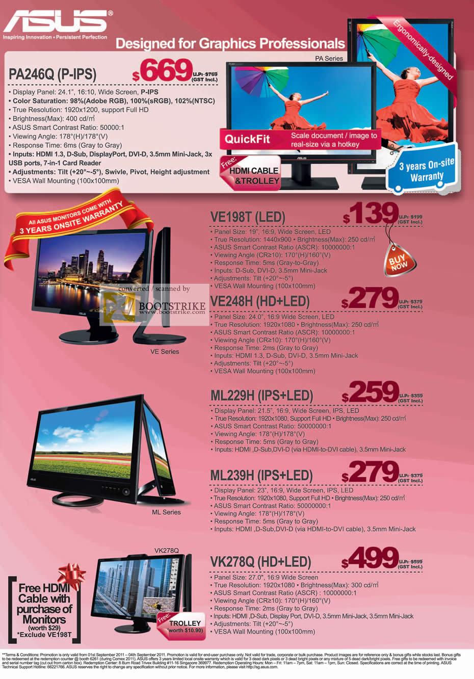 COMEX 2011 price list image brochure of ASUS Monitors IPS LED PA246Q VE198T VE248H ML229H ML239H VK278Q