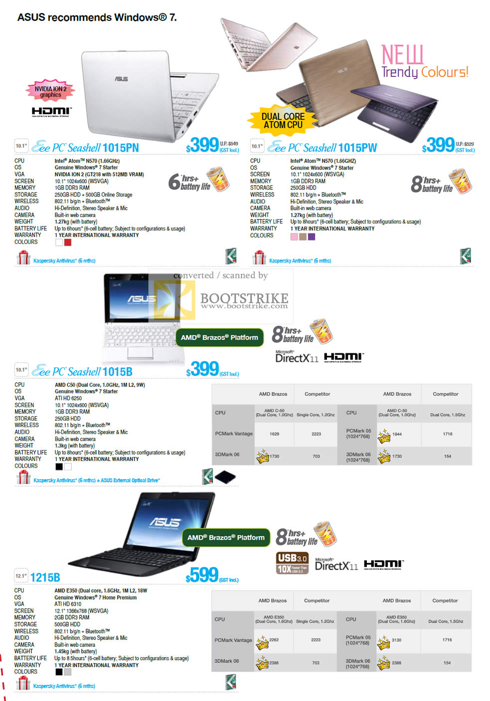 COMEX 2011 price list image brochure of ASUS Notebooks Eee PC Seashell 1015PN 1015PW 1015B 1215B