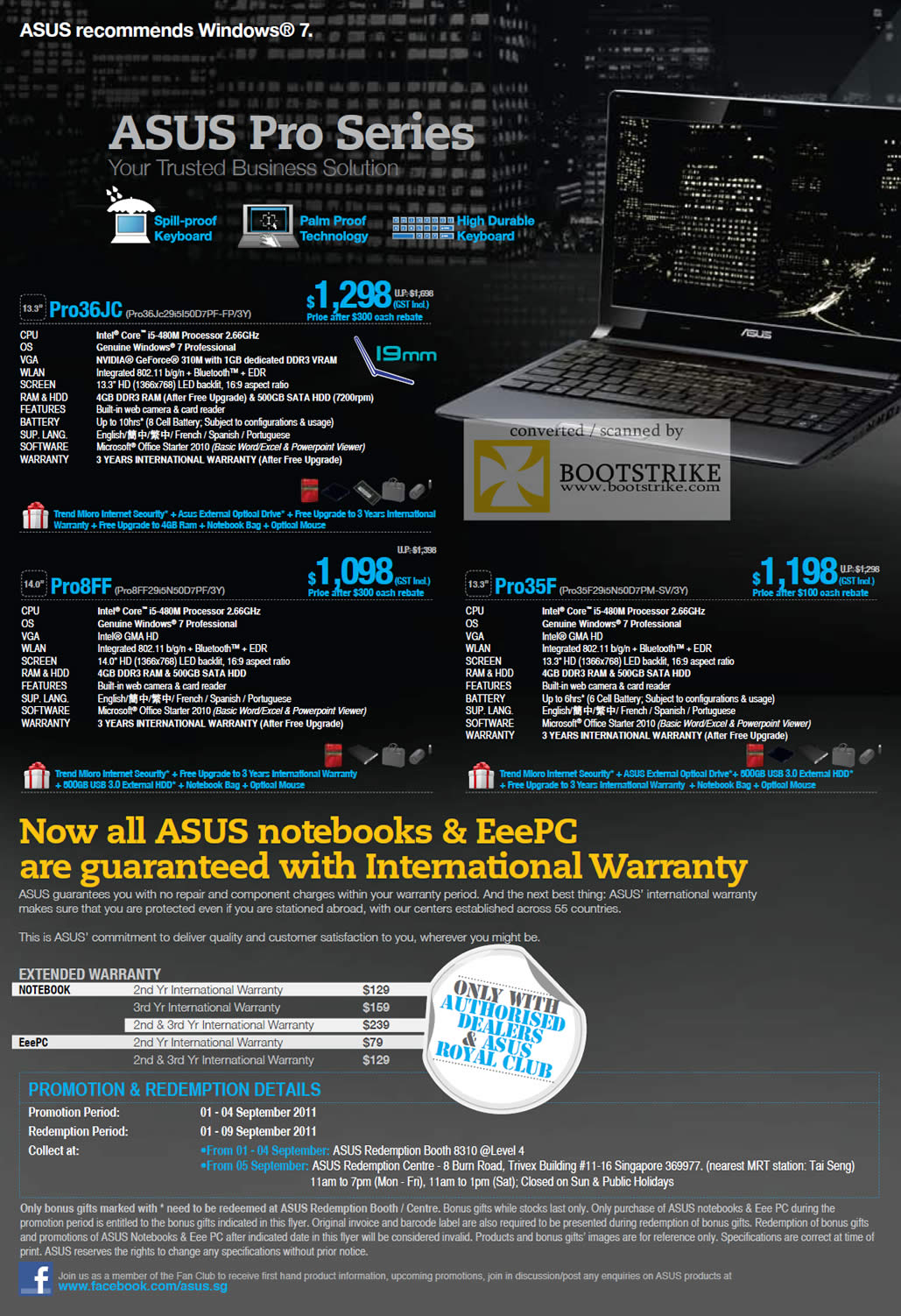 COMEX 2011 price list image brochure of ASUS Notebooks Pro Series Pro36JC Pro8FF Pro35F Extended Warranty