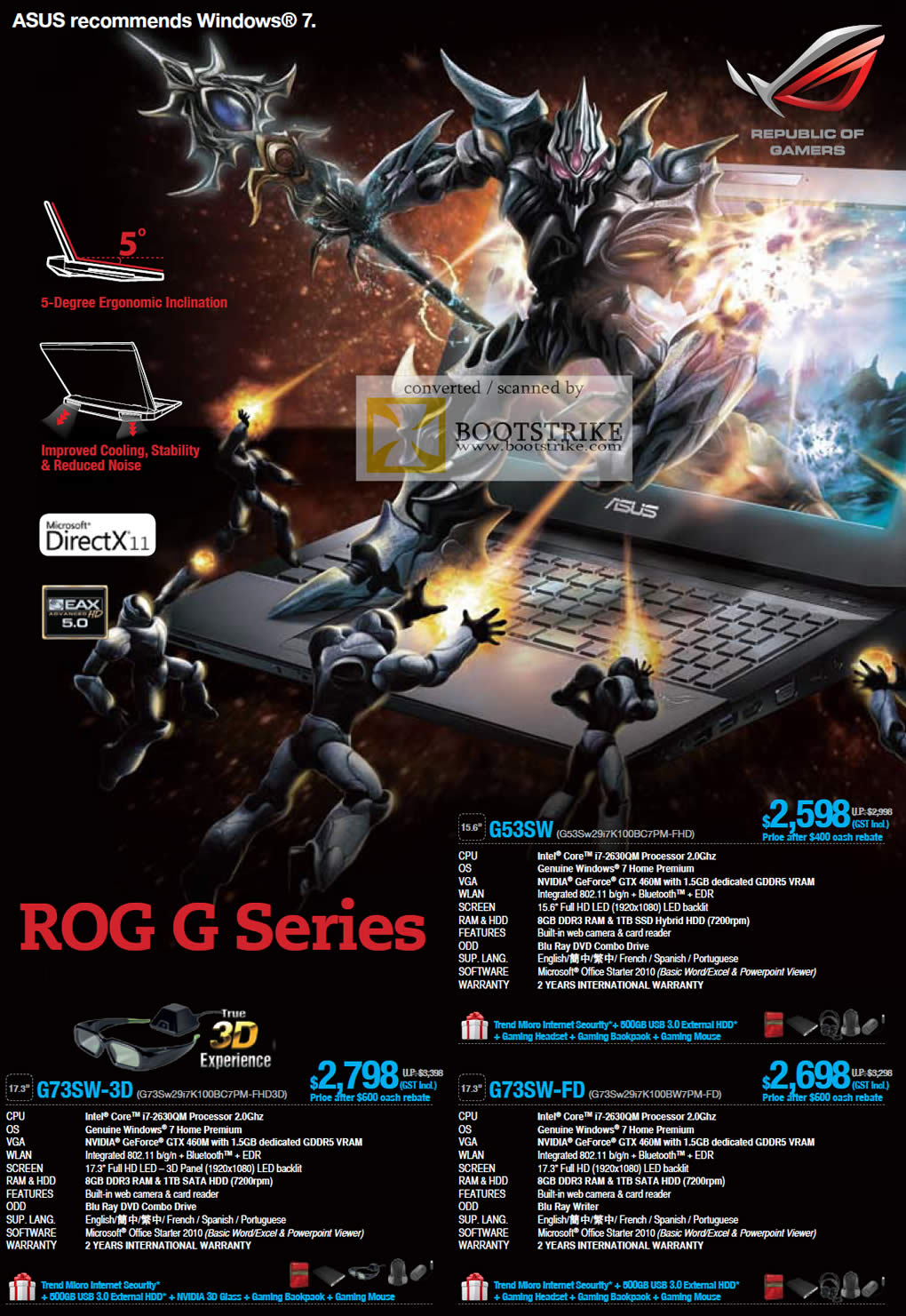 COMEX 2011 price list image brochure of ASUS Notebooks ROG G Series G53SW G73SW-3D G73SW-FD
