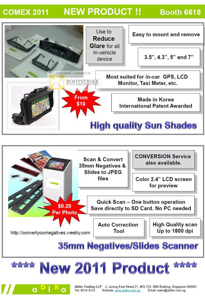 COMEX 2011 price list image brochure of Abiko Sun Shades Negatives Slides Film Scanner