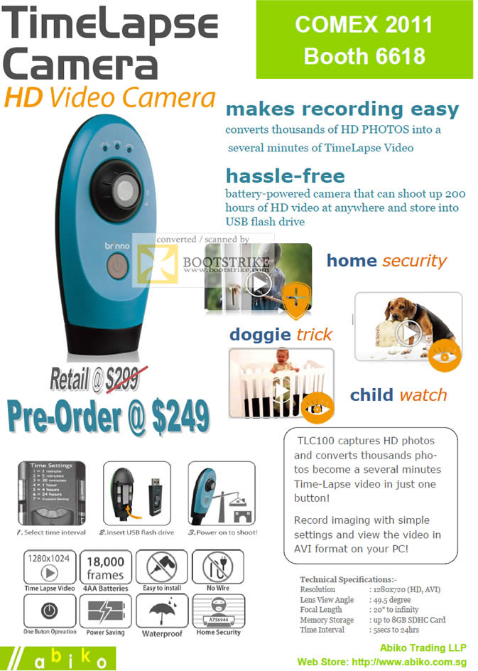 COMEX 2011 price list image brochure of Abiko TimeLapse Video Camera TLC100