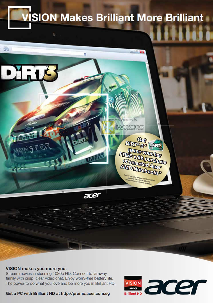 COMEX 2011 price list image brochure of Acer AMD Vision Notebooks Free DIRT 3 Game