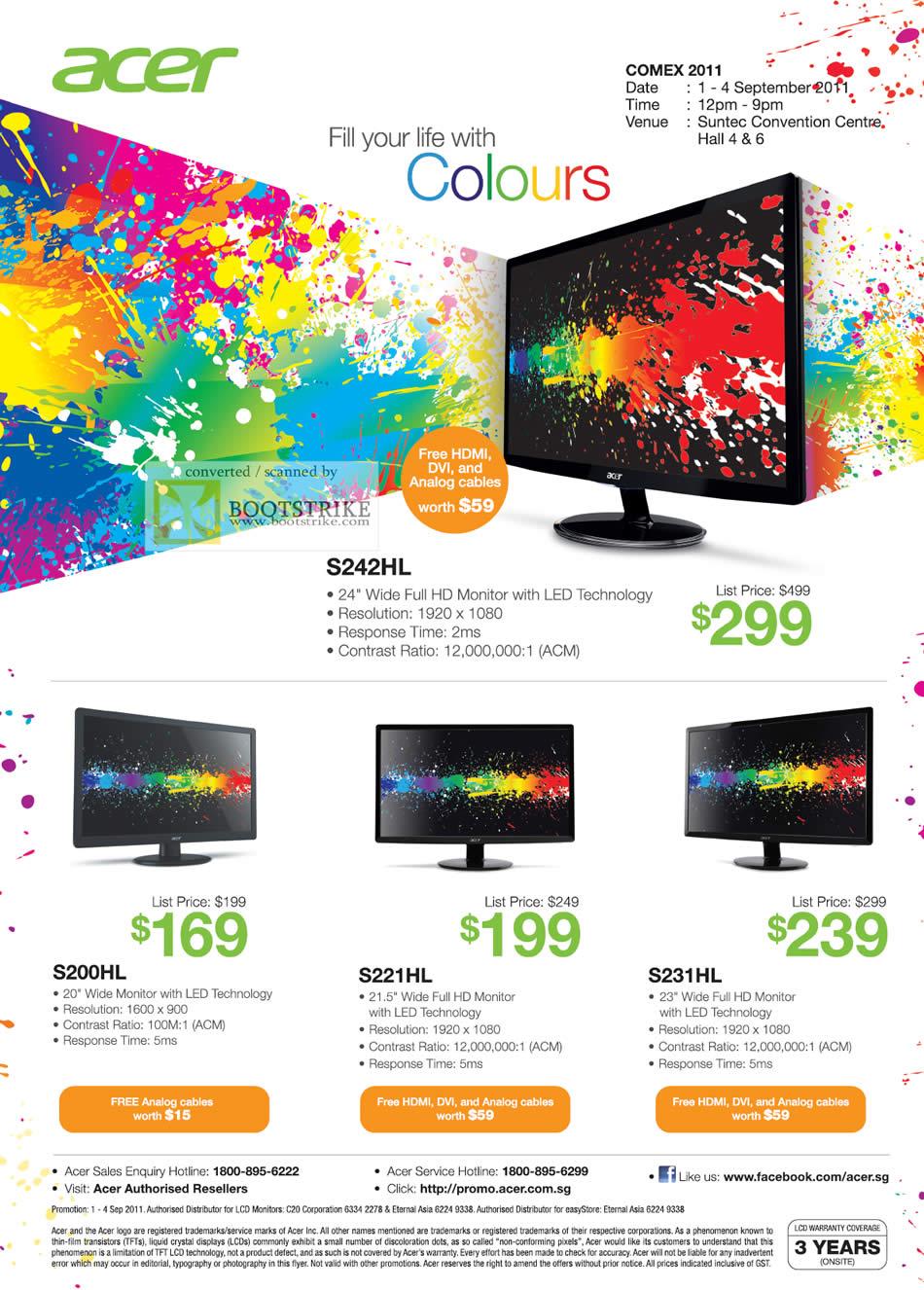 COMEX 2011 price list image brochure of Acer Monitors S242HL S200HL S221HL S231HL