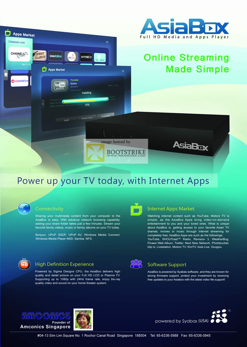 COMEX 2011 price list image brochure of Amconics AsiaBox Media Player Features Internet Apps