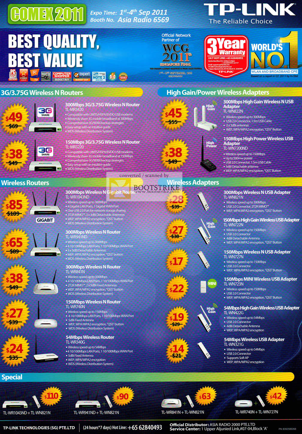 COMEX 2011 price list image brochure of Asia Radio TP-Link Networking Wireless Routers Adapter TL MR3420 MR3220 WN822N WN7200ND WR1043ND WN727N WN723N WN321G WR340G