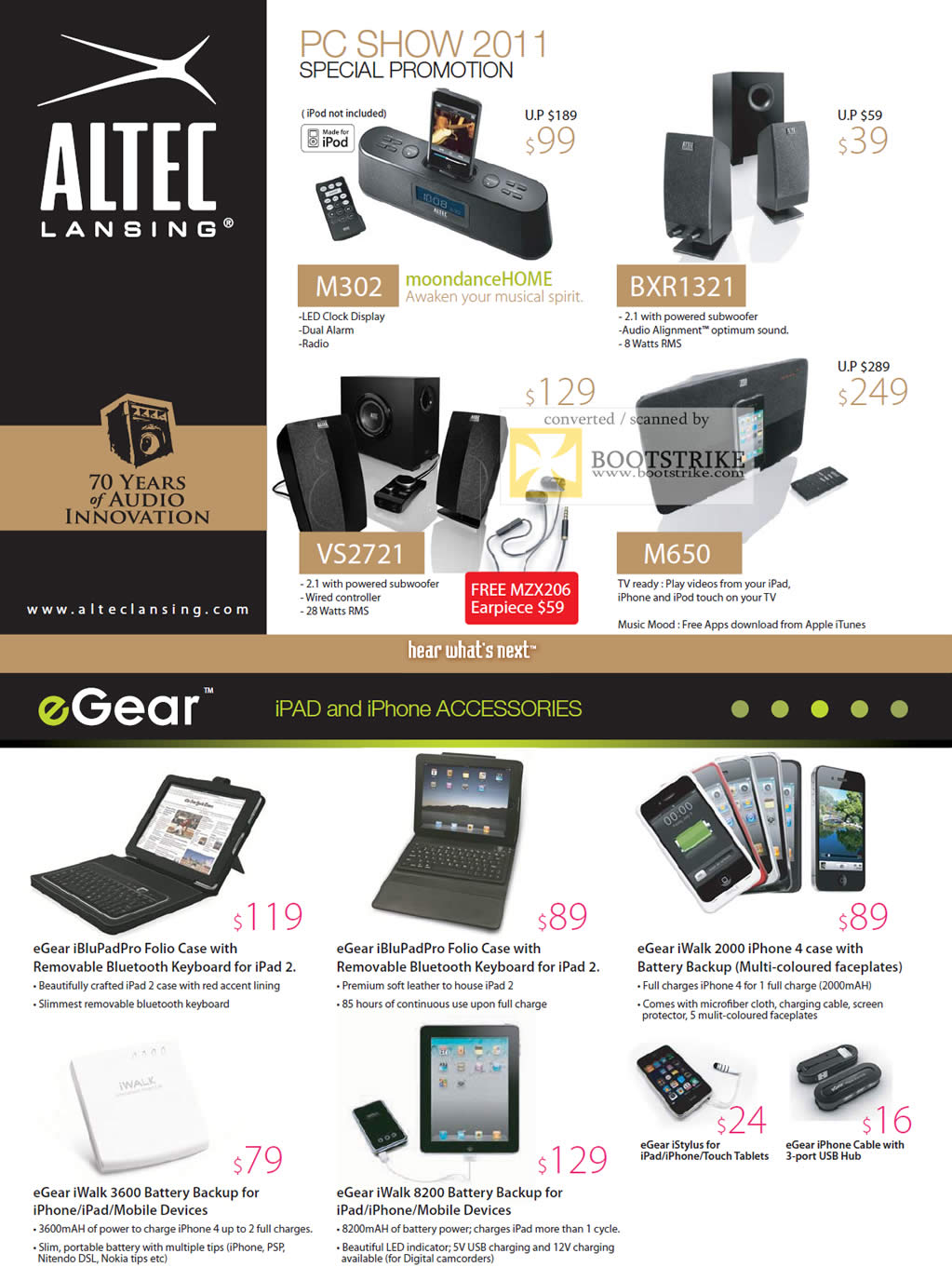 COMEX 2011 price list image brochure of Ban Leong Altec Lansing EGear IPod IPhone Dock M302 BXR1321 VS2721 M650 IBluPadPro Folio Case Battery IWalk 3600 8200