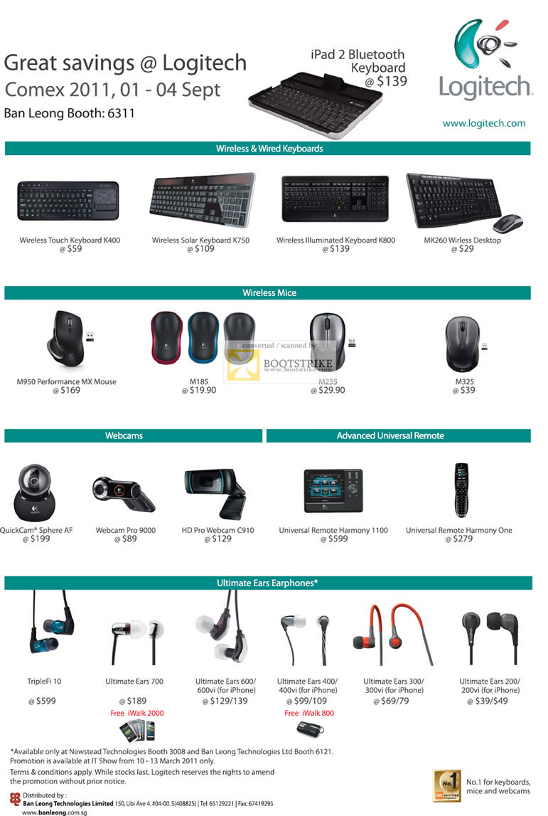 COMEX 2011 price list image brochure of Ban Leong Logitech Ultimate Ears Earphones Keyboard Mouse Webcam Universal Remote Wireless K400 Solar K750 K800 Desktop M950 MX M185 M235 M325 QuickCam TripleFi