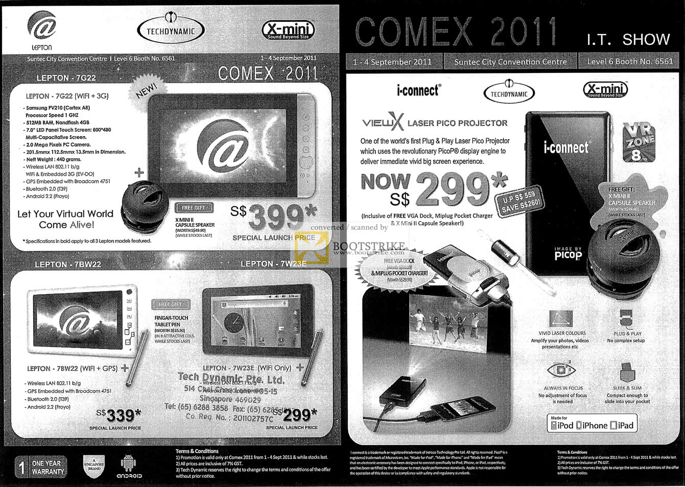 COMEX 2011 price list image brochure of Bell Systems ViewX Laser Pico Projector I-Connect Lepton 7G22 7BW22 6W23E Tablet Android