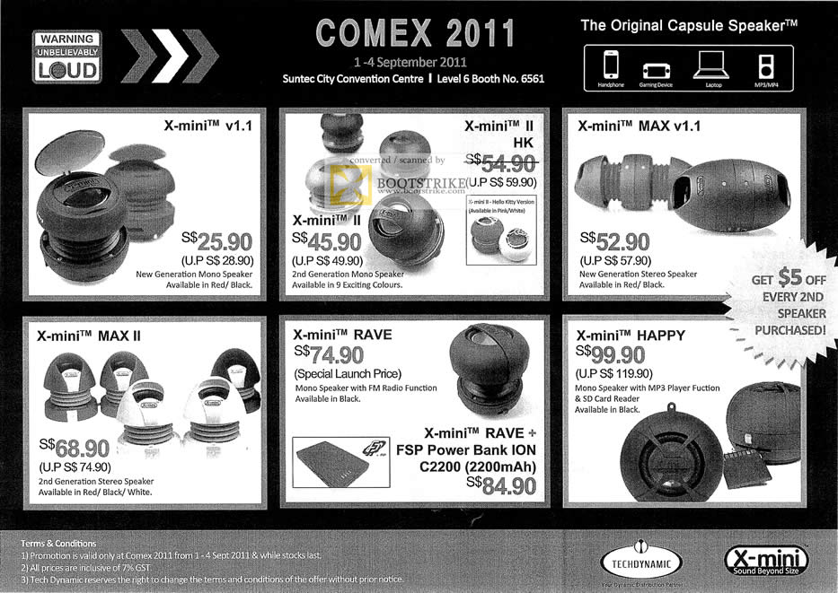 COMEX 2011 price list image brochure of Bell Systems X-Mini Capsule Speaker II HK Max V1.1 MAX II Rave Happy