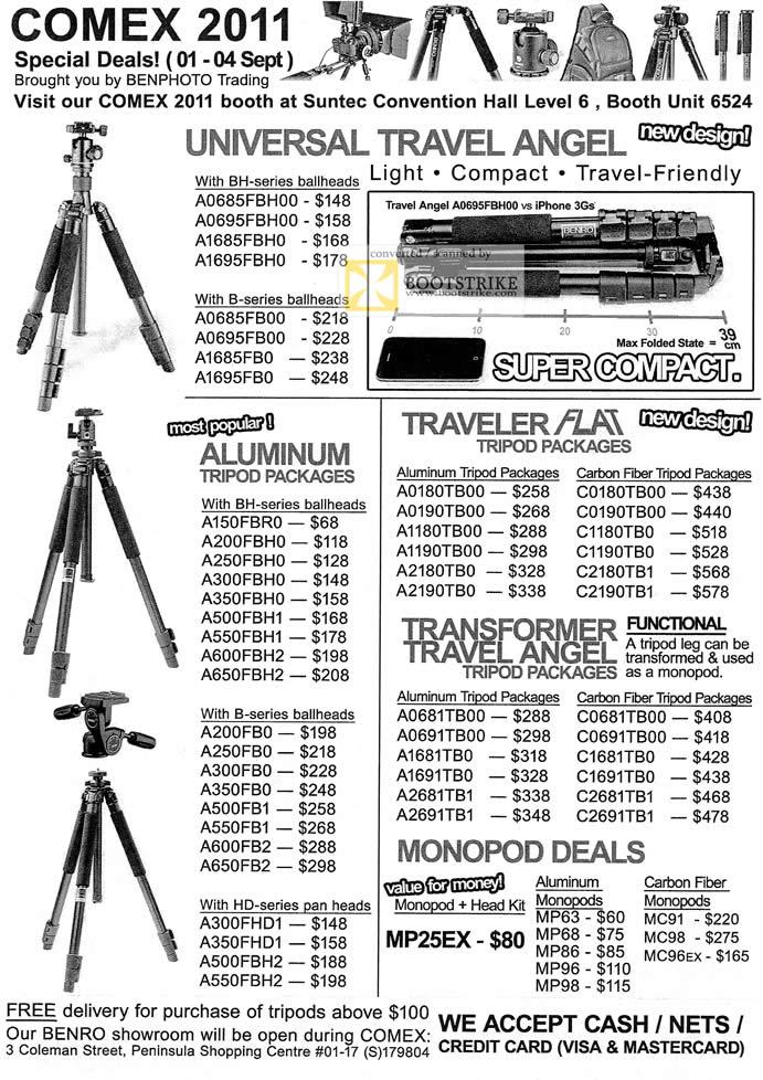 COMEX 2011 price list image brochure of Ben Photo Tripods Universal Travel Angel Ballheads Aluminum Tripod Flat Transformer Monopod MP25EX A200 A150 A350 A500