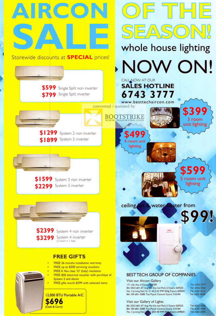 COMEX 2011 price list image brochure of Best Tech Air Conditioner Portable Non Inverter Lighting Water Heater