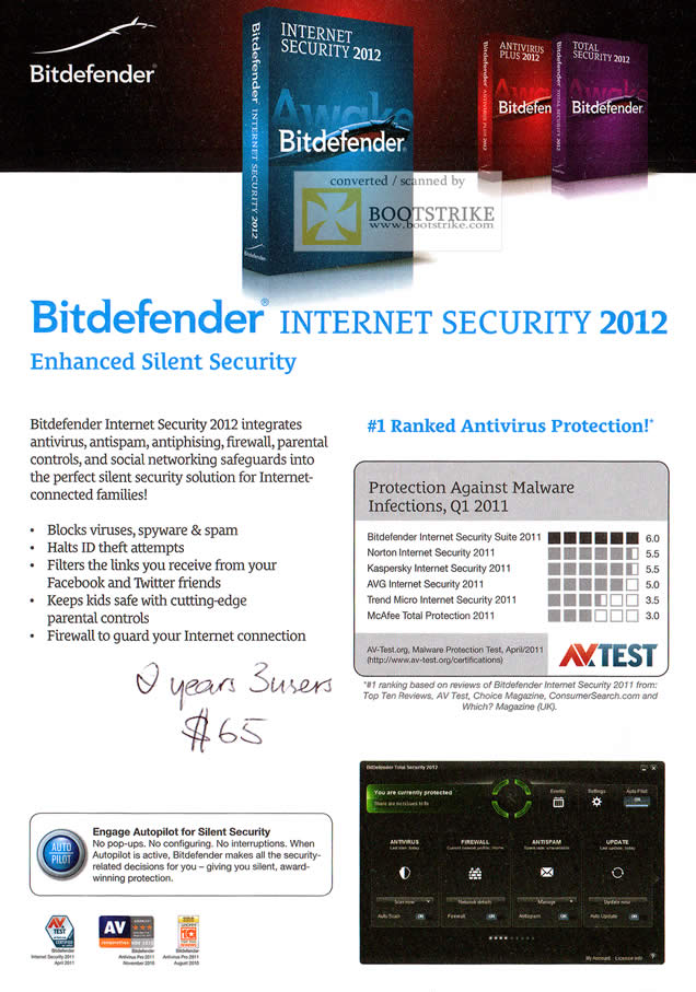 COMEX 2011 price list image brochure of Bitdefender Internet Security 2012 Main Features Ratings Competition