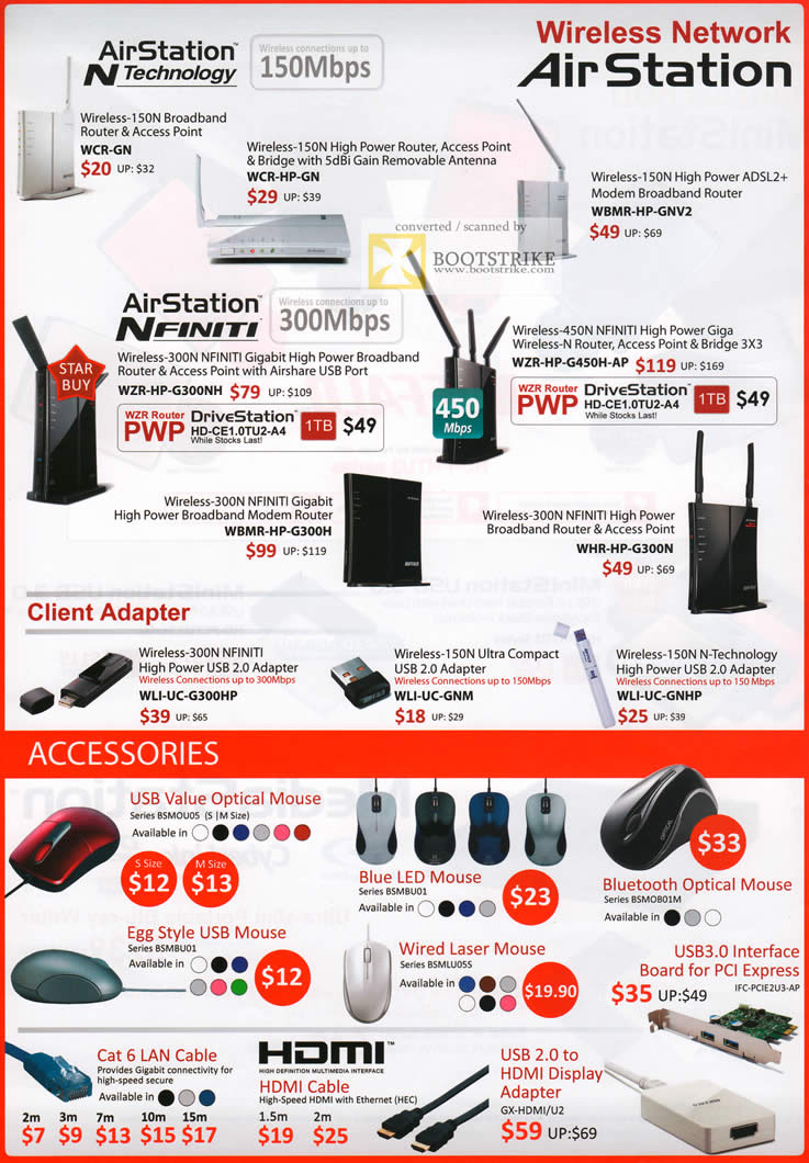 COMEX 2011 price list image brochure of Buffalo AirStation NFinity Router Airshare Wireless Adapter Mouse Egg Blue LED Laser Bluetooth USB3 LAN Cable HDMI Adapter USB