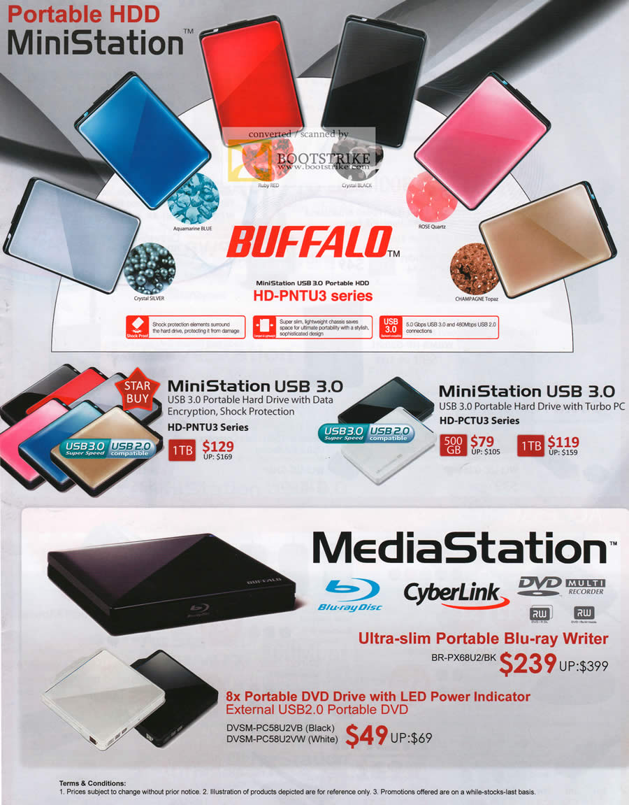 COMEX 2011 price list image brochure of Buffalo External Storage MiniStation USB3 Turbo PC MediaStation Blu-Ray Writer Portable DVD