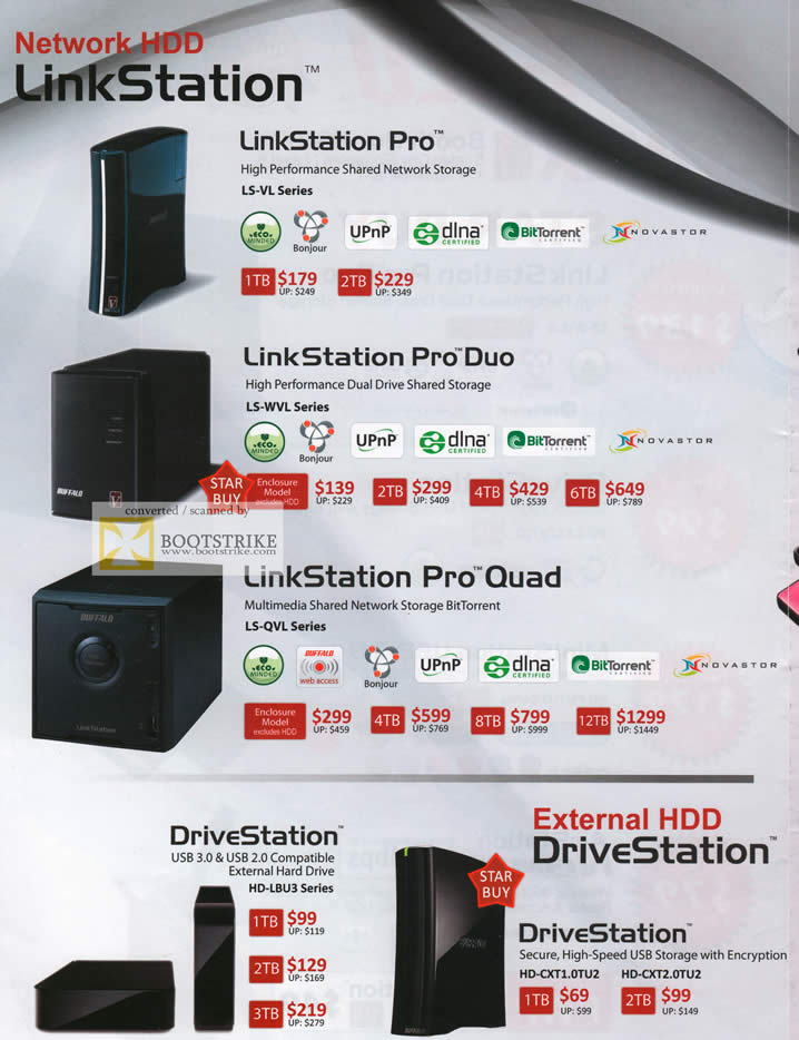 COMEX 2011 price list image brochure of Buffalo External Storage NAS LinkStation Pro Duo Quad DriveStation USB3
