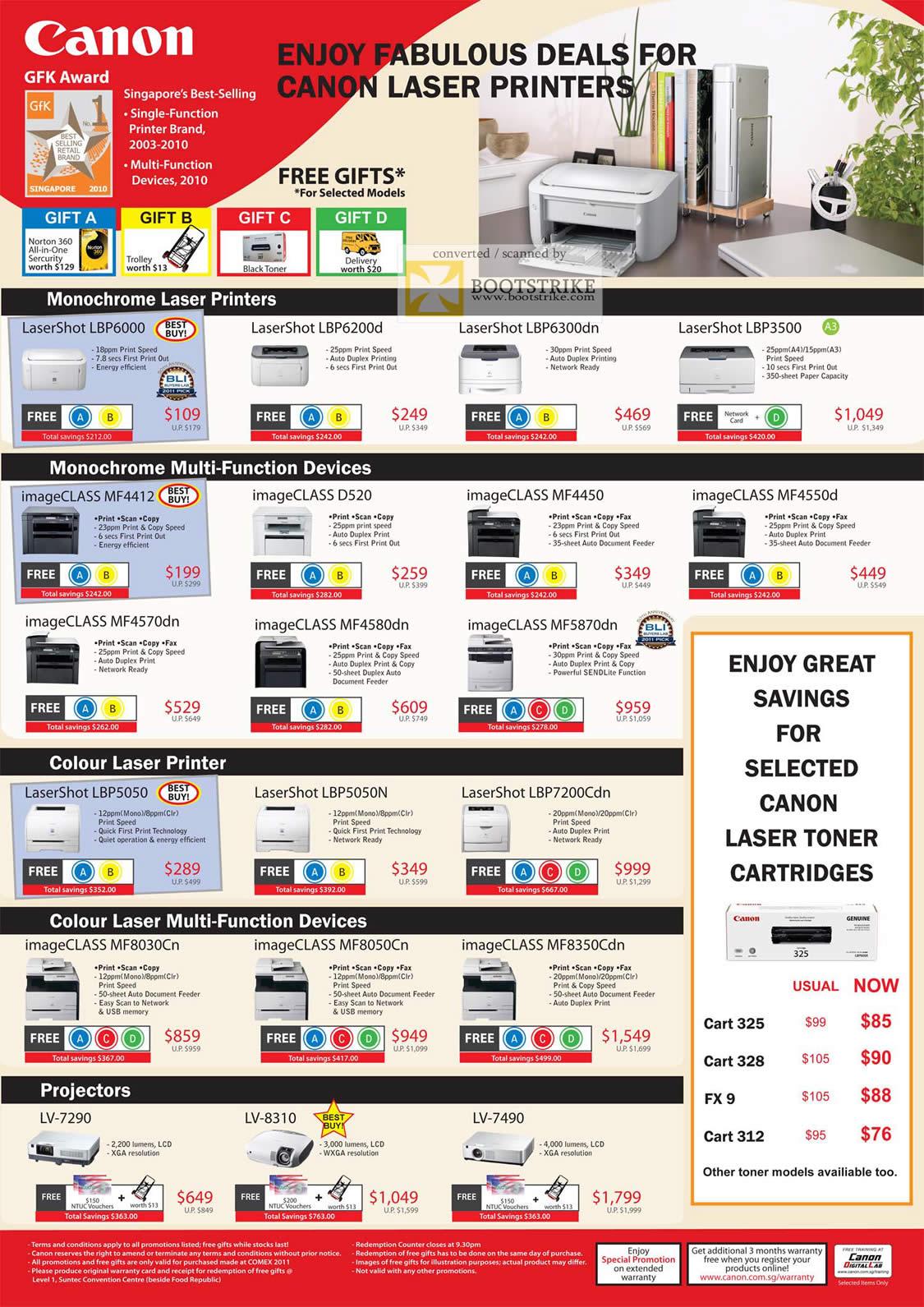 COMEX 2011 price list image brochure of Canon Printers Laser LaserShot LBP6000 LBP6200d LBP6300dn LBp3500 ImageCLASS MF4412 D520 MF4450 MF4550d MF4570dn MF4580dn MF5870dn LBP5050