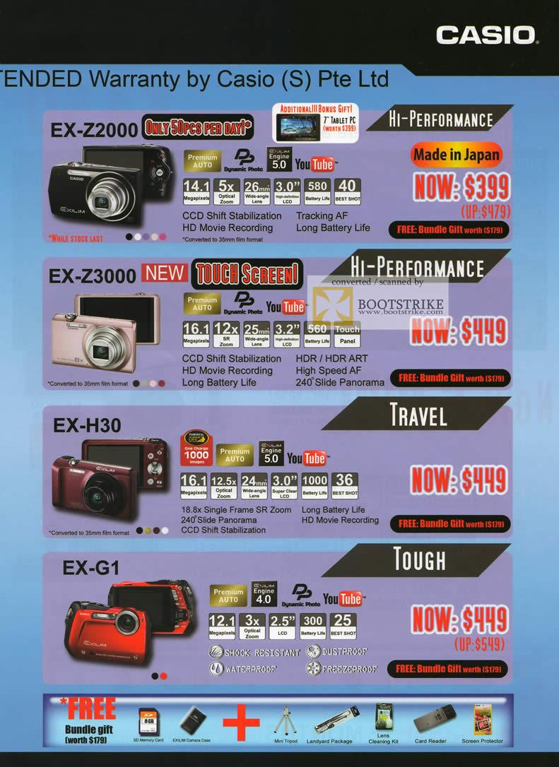COMEX 2011 price list image brochure of Casio Digital Cameras EX-Z2000 EX-Z3000 EX-H30 EX-G1