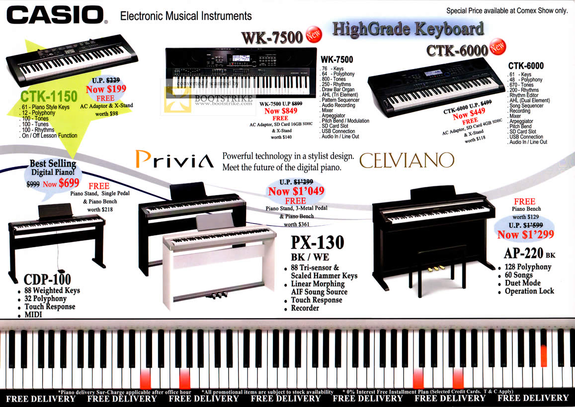 Casio Electronic Musical Instruments CTK-1150 WK-7500 CTK ...