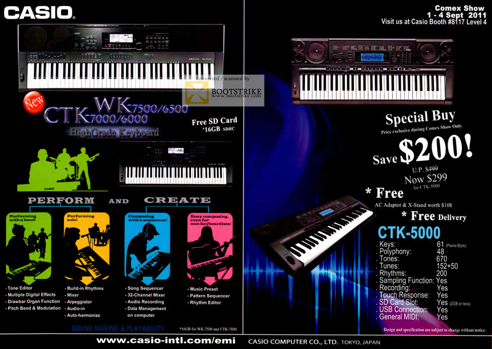 Casio Electronic Musical Keyboard CTK-5000 Specifications