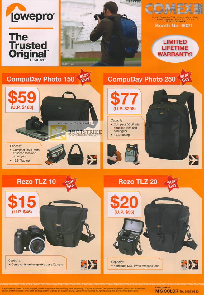 COMEX 2011 price list image brochure of Cathay Photo Lowepro Bags Compu Photo 150 250 Rezo TLZ 10 TLX 20