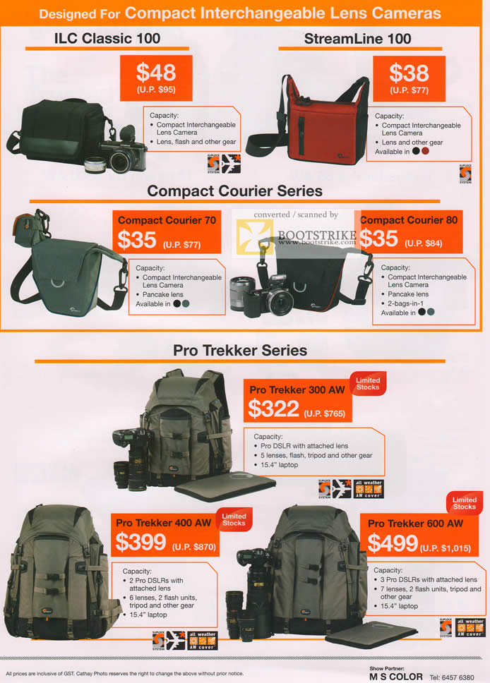 COMEX 2011 price list image brochure of Cathay Photo Lowepro Bags ILC Classic 100 StreamLine Compact Courier 70 80 Pro Trekker 300 AW 400 600